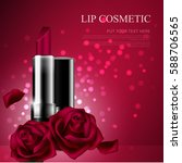 attractive lipstick and rose... | Shutterstock .eps vector #588706565