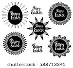 set elements for easter. egg... | Shutterstock . vector #588713345