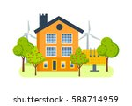 farm house with a plot of land... | Shutterstock .eps vector #588714959
