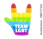 rainbow hand love wins gay... | Shutterstock .eps vector #588717101