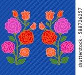 embroidered flowers for denim.... | Shutterstock .eps vector #588726257