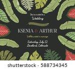 wedding invitation card ... | Shutterstock .eps vector #588734345