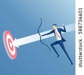 businessman in jump shoots an... | Shutterstock .eps vector #588736601