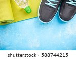 yoga mat  sport shoes and... | Shutterstock . vector #588744215