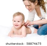 beautiful young mum and her... | Shutterstock . vector #58874675
