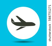 aircraft icon. flat vector... | Shutterstock .eps vector #588751271