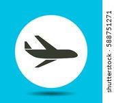 aircraft icon. flat vector...   Shutterstock .eps vector #588751271