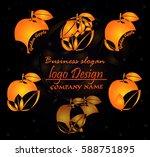 gold luxury business logo ... | Shutterstock .eps vector #588751895