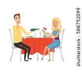 people in the restaurant for... | Shutterstock .eps vector #588752099