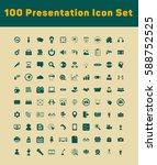 100 presentation icons set | Shutterstock .eps vector #588752525