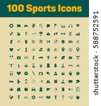 100 sports icons set | Shutterstock .eps vector #588752591