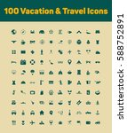100 vacation and travel icons... | Shutterstock .eps vector #588752891