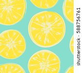 seamless pattern with citrus... | Shutterstock .eps vector #588756761