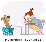 vector illustration of a girl... | Shutterstock .eps vector #588760511