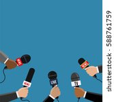 reporters in live holding... | Shutterstock .eps vector #588761759