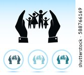 hand and family icon   Shutterstock .eps vector #588766169
