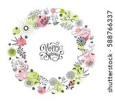 hand drawn spring objects frame.... | Shutterstock .eps vector #588766337