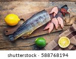 smoked dog salmon with a lime... | Shutterstock . vector #588768194