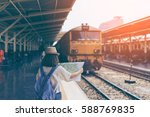 young woman traveler with sky... | Shutterstock . vector #588769835