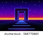 neon 80s styled massive gate in ... | Shutterstock .eps vector #588770885