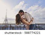 romantic in love man woman... | Shutterstock . vector #588774221