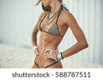 beautiful slim girl body. fit... | Shutterstock . vector #588787511
