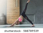 young slim blond woman in yoga... | Shutterstock . vector #588789539