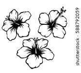 hibiscus black and white vector ...   Shutterstock .eps vector #588792059
