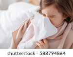 sick little girl recovering at... | Shutterstock . vector #588794864