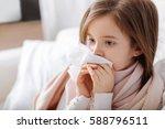 pleasant ill little girk using... | Shutterstock . vector #588796511