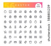 set of 56 easter line icons... | Shutterstock .eps vector #588801239