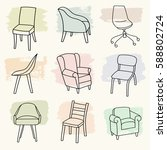 vector set of chairs with brush ... | Shutterstock .eps vector #588802724