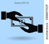 transfer money from hand to... | Shutterstock .eps vector #588807029