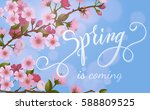 blossom tree and spring... | Shutterstock .eps vector #588809525