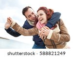 young beautiful couple visiting ... | Shutterstock . vector #588821249