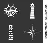 marine icons set isolated  on... | Shutterstock .eps vector #588825005