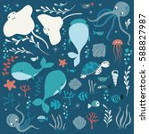 collection of colorful sea and... | Shutterstock .eps vector #588827987