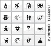 set of 16 editable infant icons.... | Shutterstock . vector #588830987