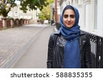 portrait of british muslim...   Shutterstock . vector #588835355