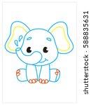 vector coloring book of cute... | Shutterstock .eps vector #588835631