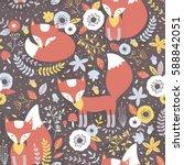 vector seamless foxes pattern   Shutterstock .eps vector #588842051