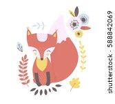 vector fox clip art illustration | Shutterstock .eps vector #588842069