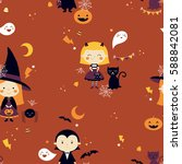 vector seamless halloween... | Shutterstock .eps vector #588842081