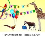 happy birthday picture  animals ... | Shutterstock .eps vector #588843704