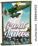 great lakes vintage prop plane... | Shutterstock . vector #588846905