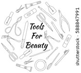 set of tools for manicure.... | Shutterstock .eps vector #588847991