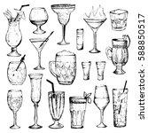 cocktails   set of 18 hand...   Shutterstock .eps vector #588850517