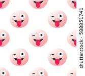 seamless pattern  emoji or... | Shutterstock . vector #588851741