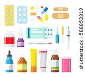 medical tablets  pills ... | Shutterstock .eps vector #588853319