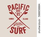 hawaii surf typography  t shirt ... | Shutterstock .eps vector #588858884